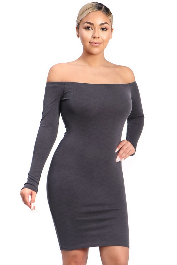 kintted bodycon dress - orangeshine.com