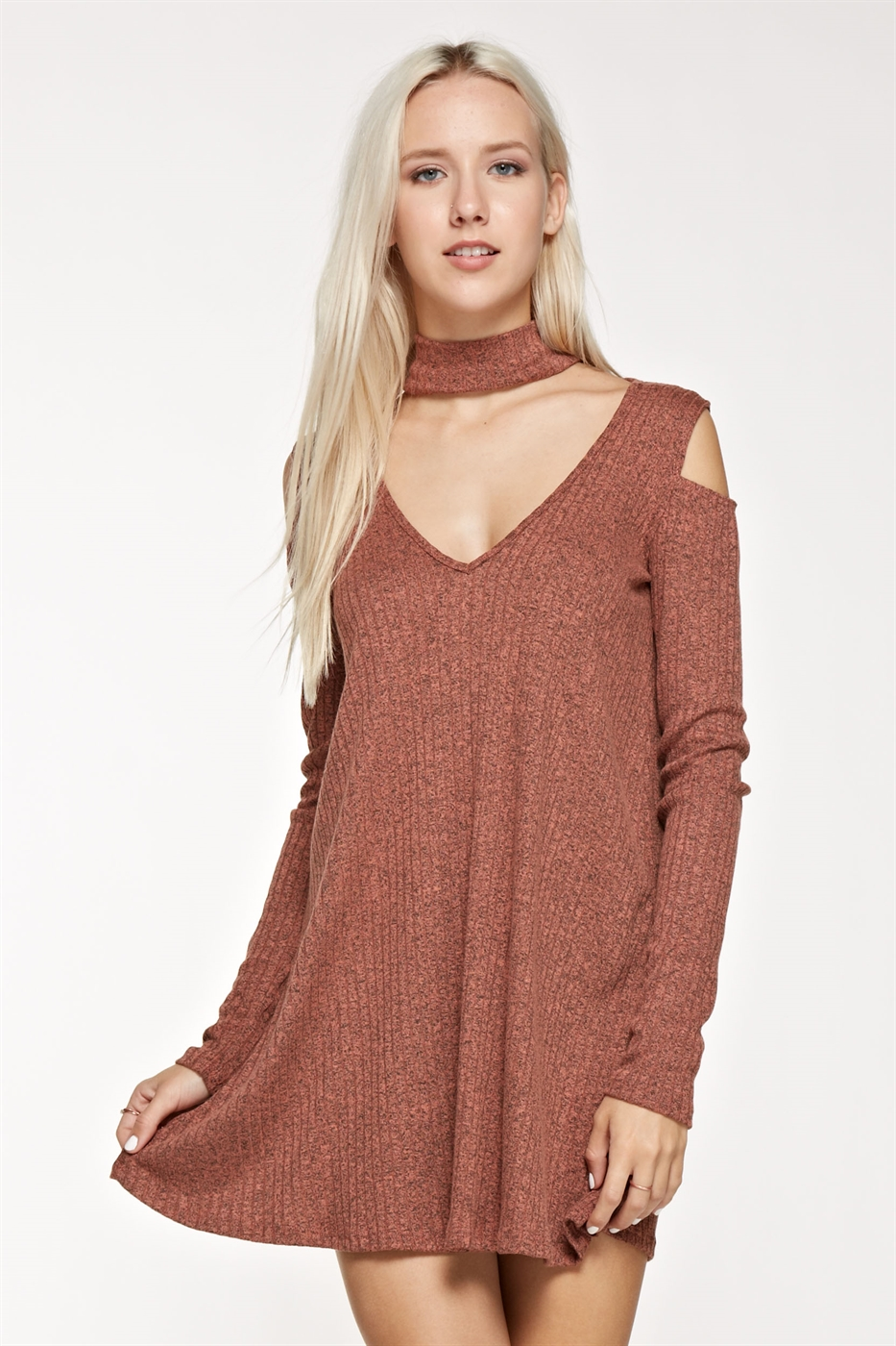 CHOCKERNECK COLDSHOULDER DRESS - orangeshine.com