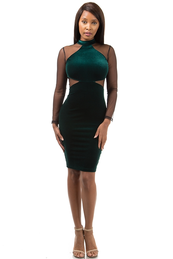 Velvet mesh bodycon dress - orangeshine.com