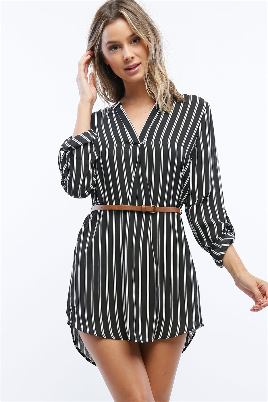 V-neck Striped Chiffon Dress - orangeshine.com