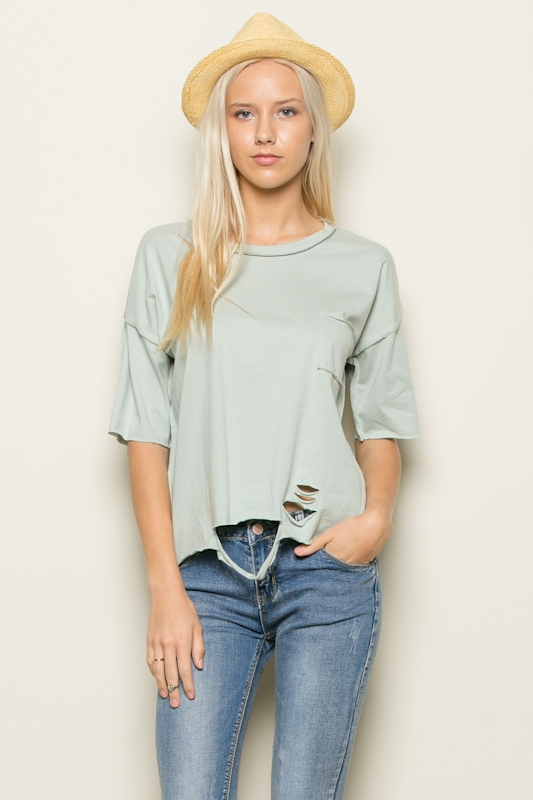 RIPPED SHORT SLV TOP - orangeshine.com