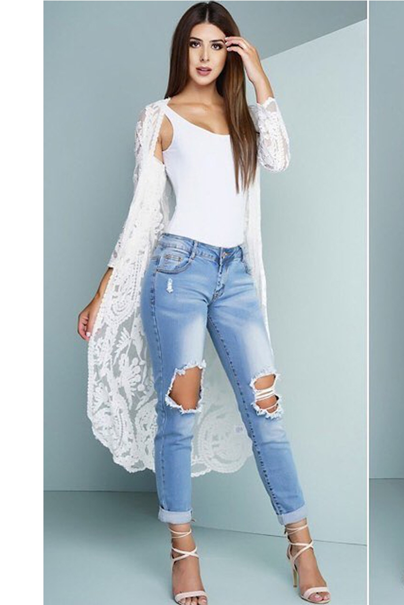 WHITE LACE LONG CARDIGAN - orangeshine.com