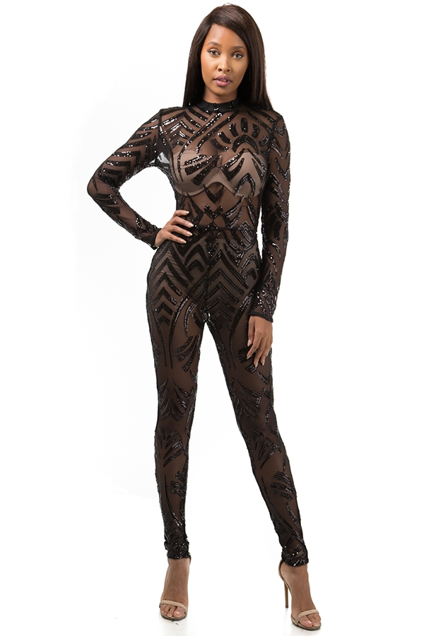 Sequins Catsuit - orangeshine.com