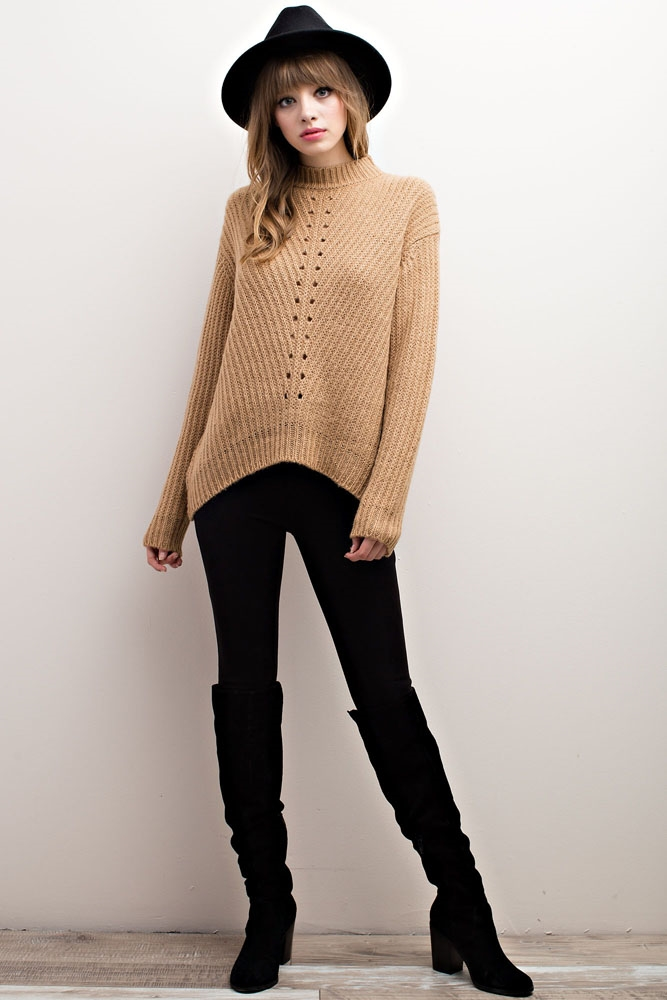 MOCK NECK SWEATER TOP - orangeshine.com