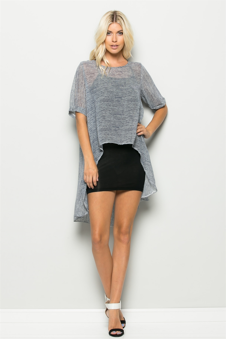 SHORT SLV TUNIC DRESS W/SLIP - orangeshine.com