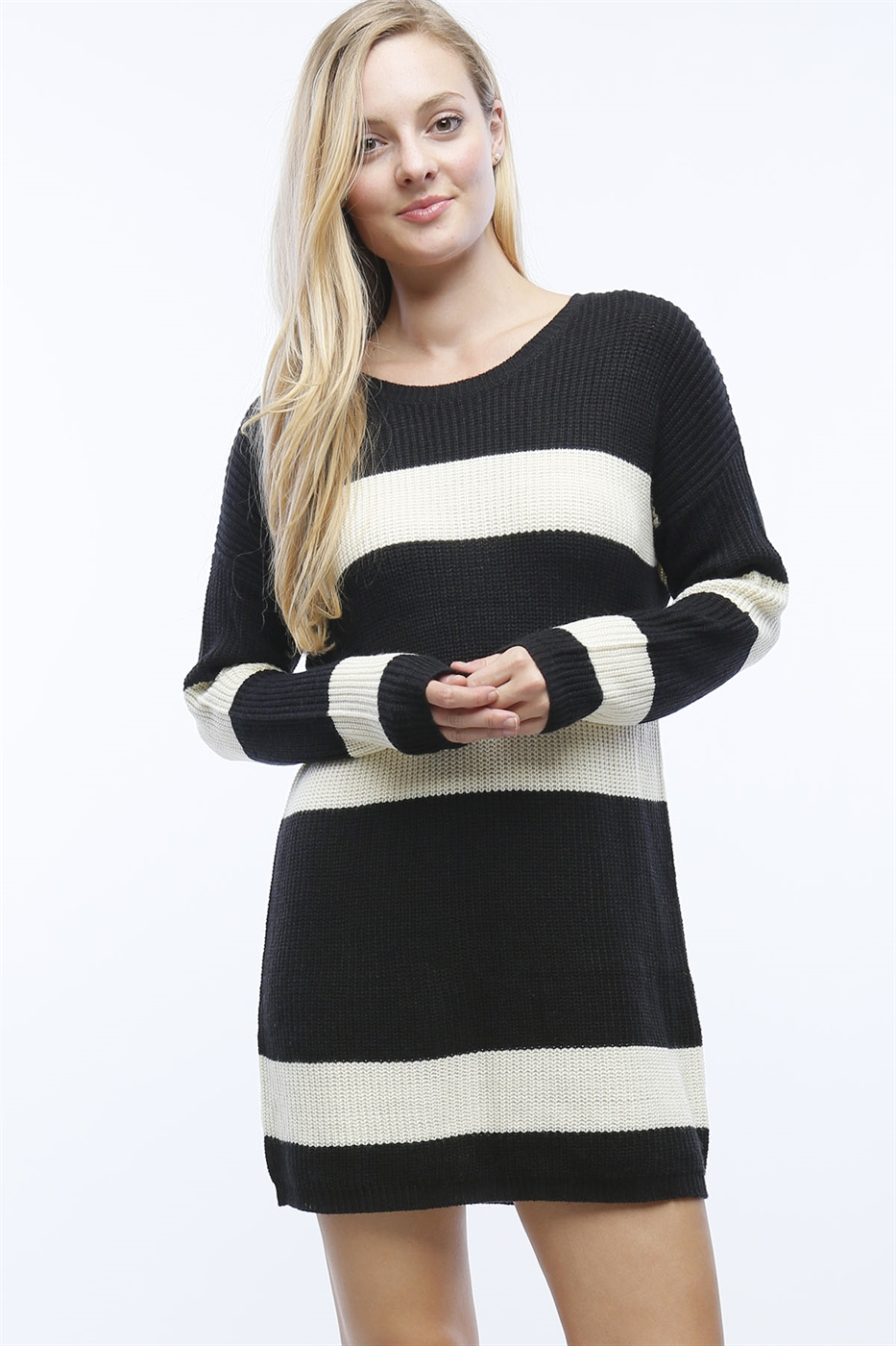 STRIPED SWEATER DRESS - orangeshine.com