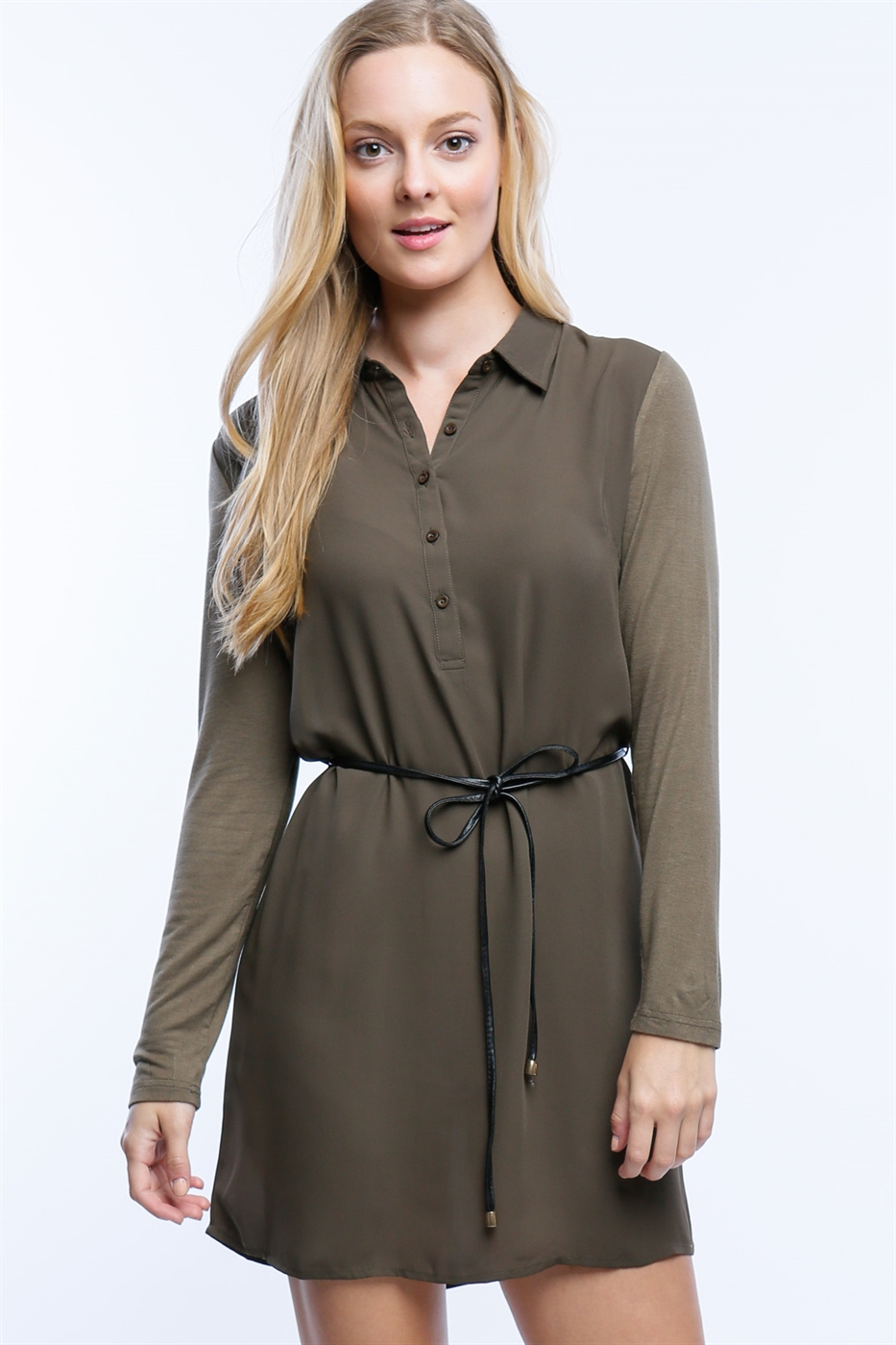 CONTRAST SHIRT DRESS - orangeshine.com