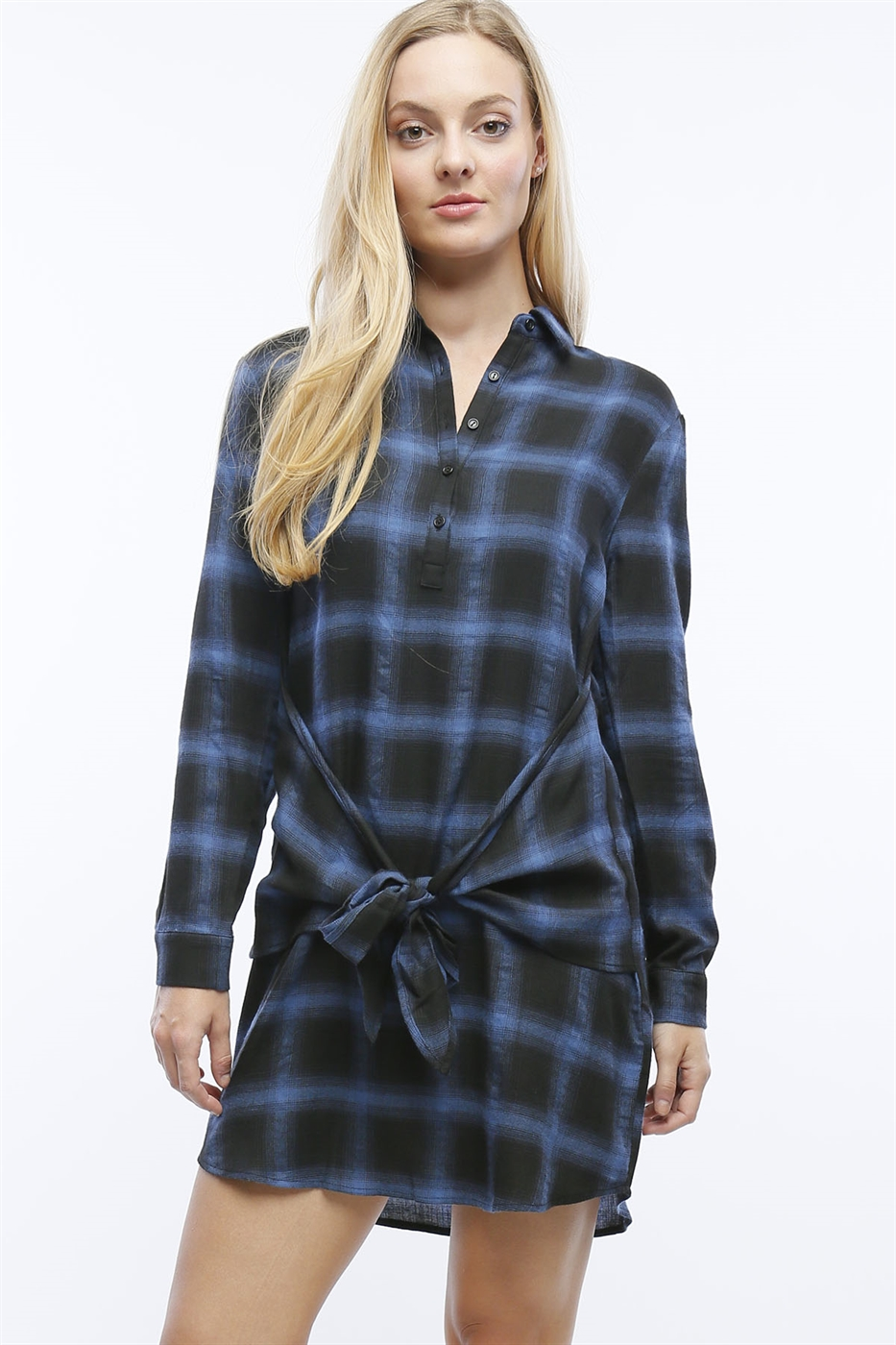 PLAID FLANNEL DRESS WITH TIE - orangeshine.com