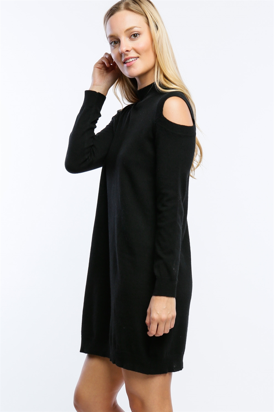 COLD SHOULDER SWEATER DRESS - orangeshine.com