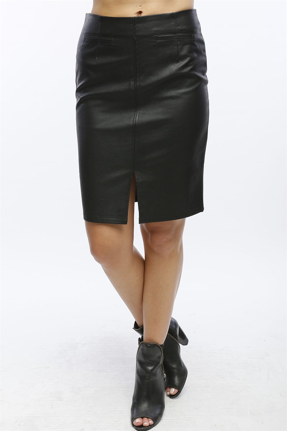 PLEATHER PENCIL SKIRT - orangeshine.com