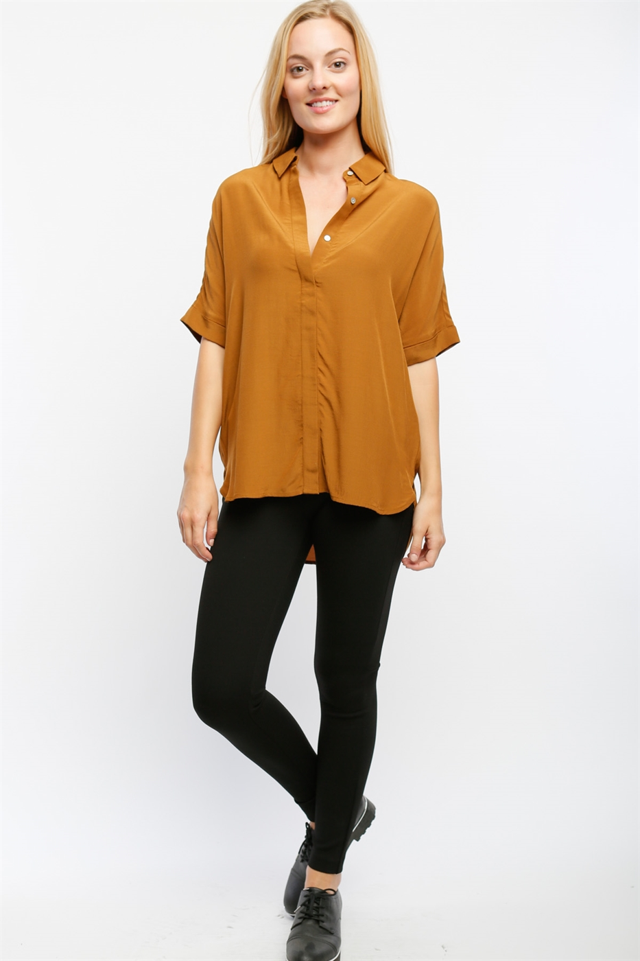 SHORT SLEEVE BUTTON UP SHIRT - orangeshine.com
