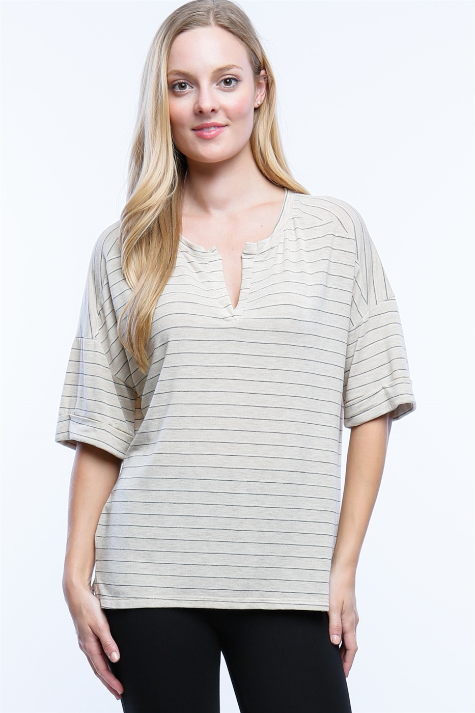 STRIPE V-NECK TOP - orangeshine.com