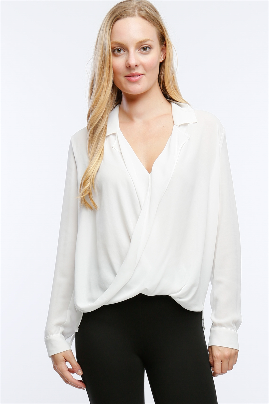 COLLARED SURPLICE TOP - orangeshine.com