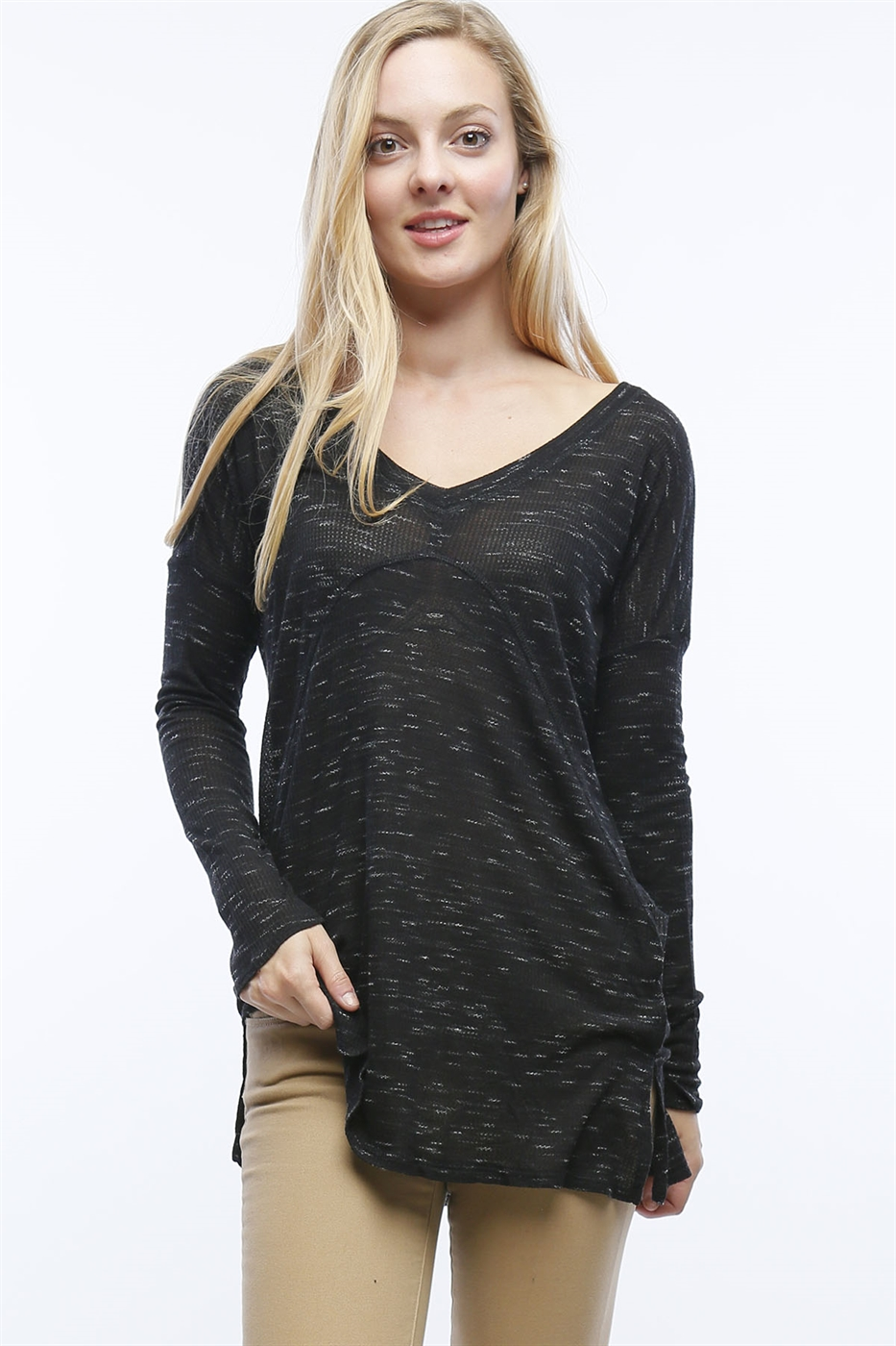 RIBBED MARLED TOP - orangeshine.com