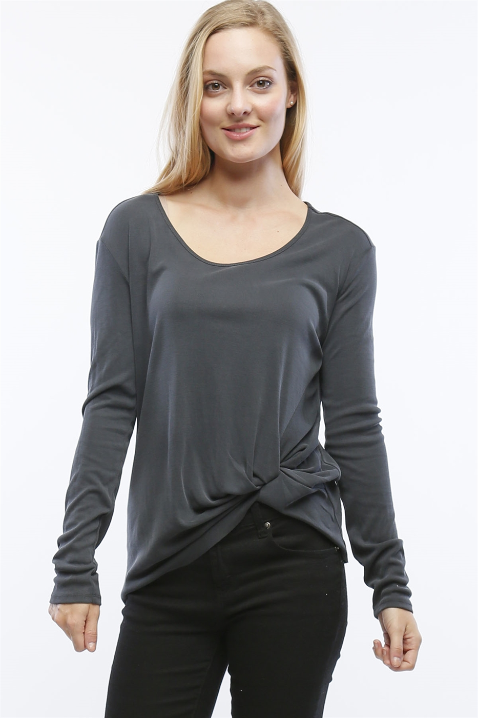 RIBBED MODAL TOP WITH KNOT - orangeshine.com