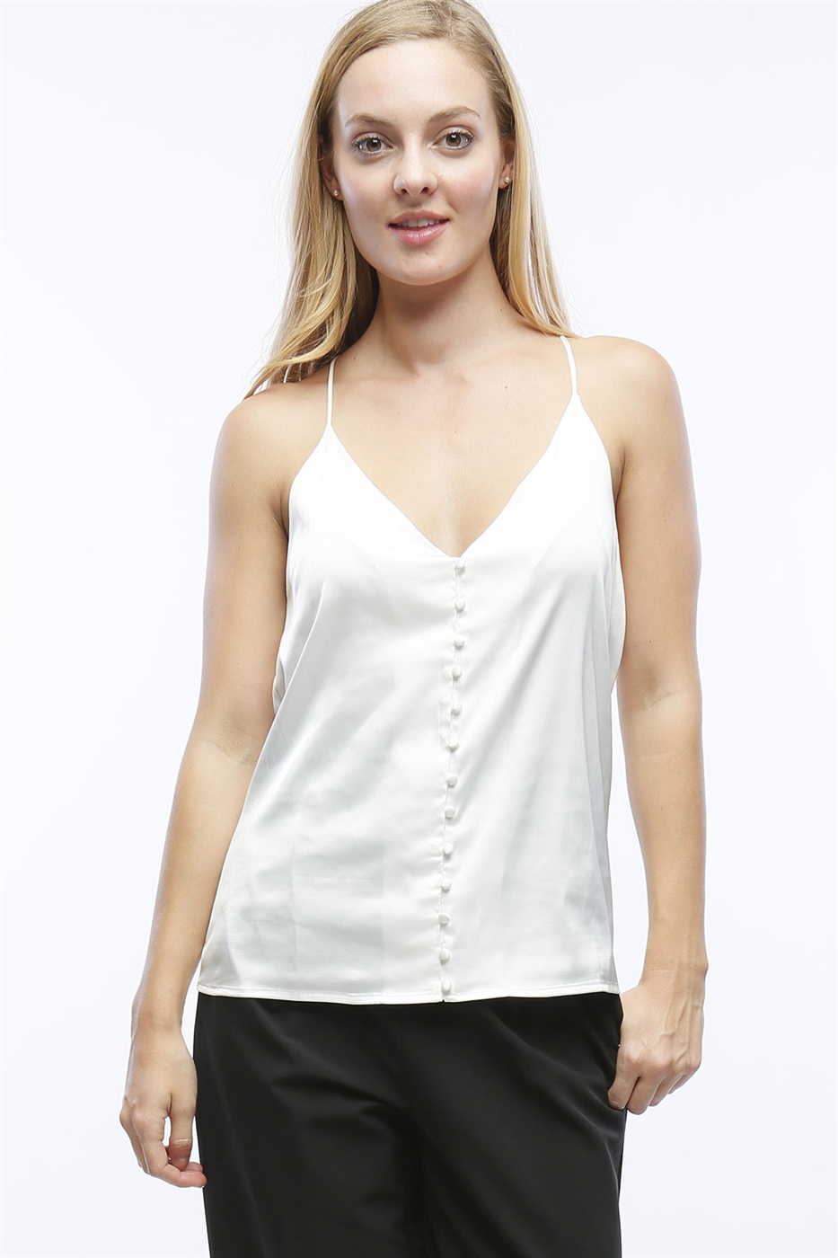 SATIN TANK TOP WITH BUTTONS - orangeshine.com