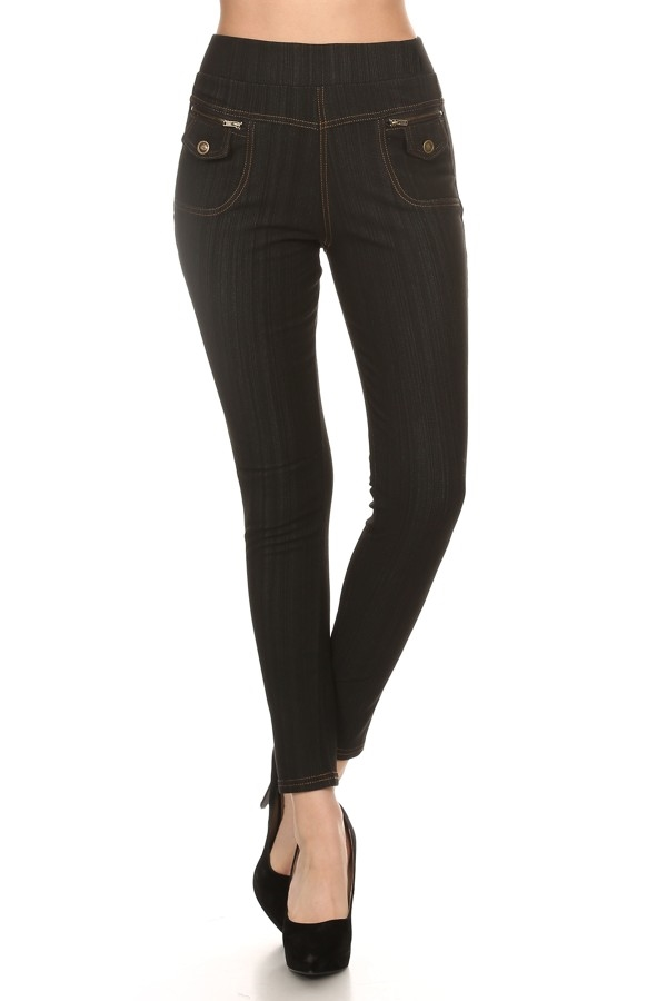 JEAN LEGGING  WITH FLEECE  BK - orangeshine.com