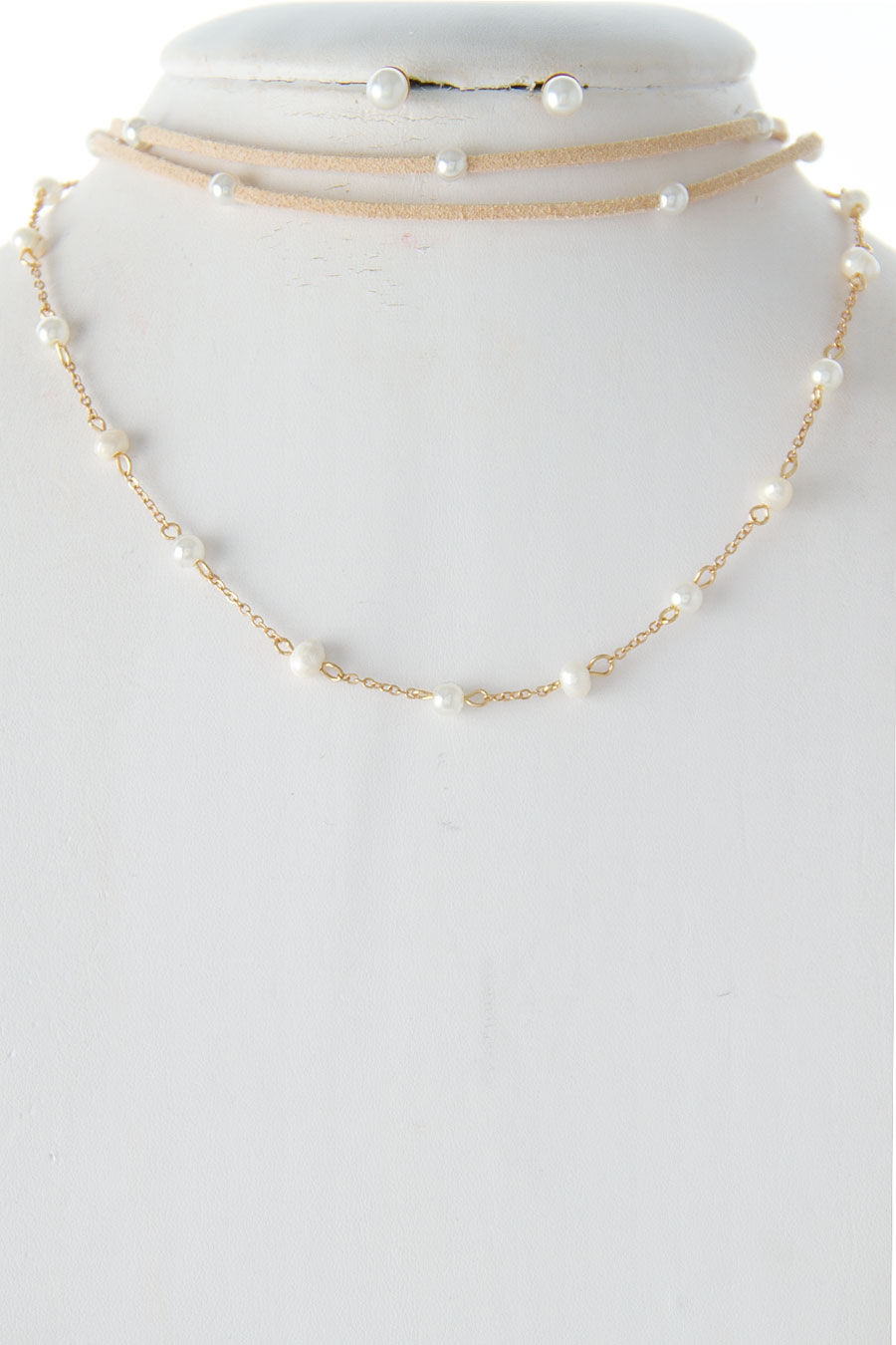 SUEDE PEARL CHOKER NECKLACE - orangeshine.com