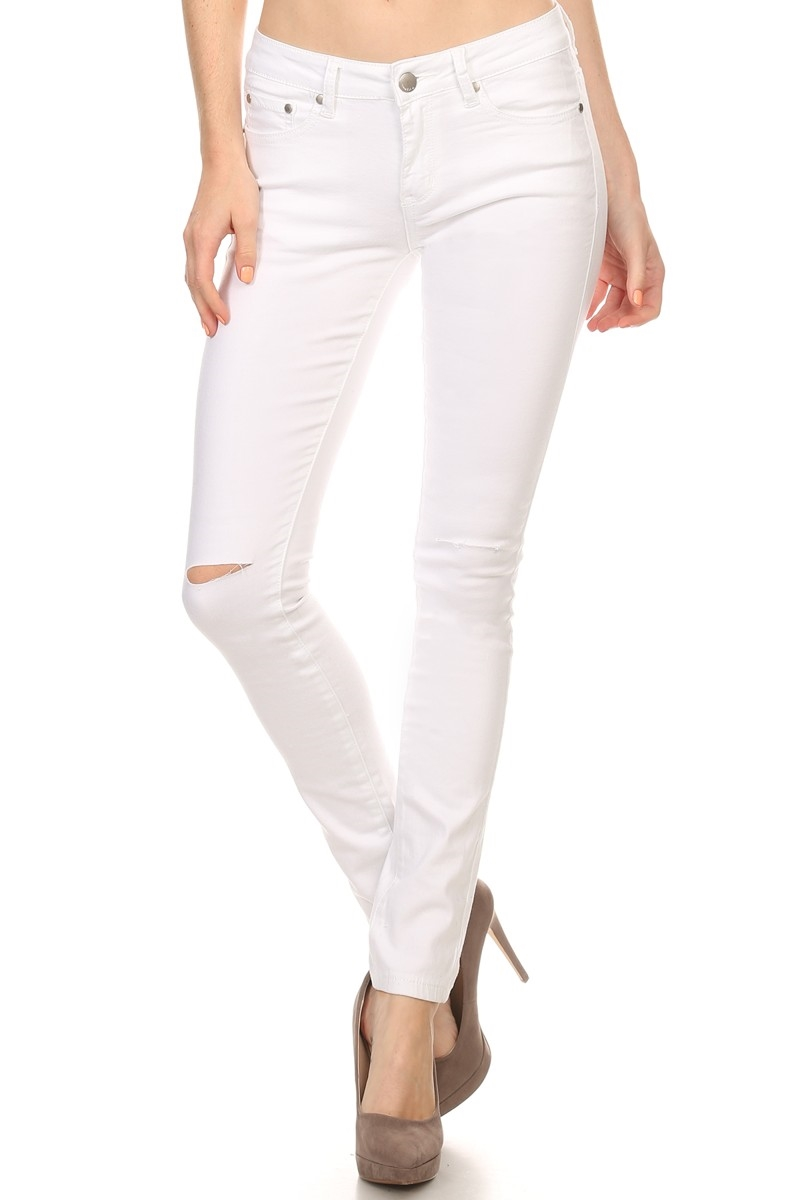 SOLID DENIM JEANS WITH SLITS - orangeshine.com