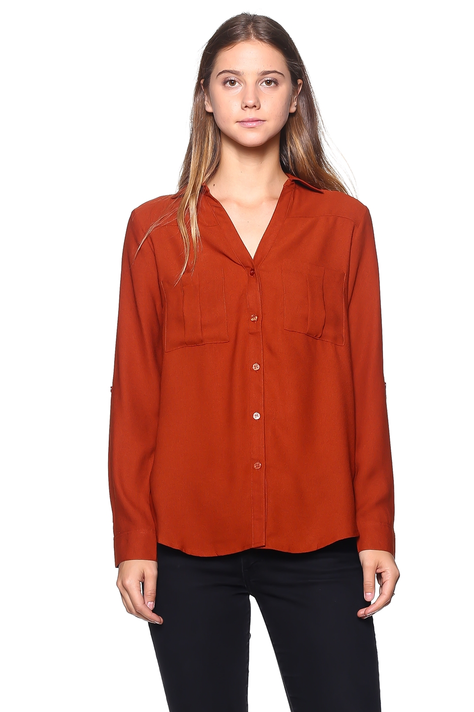 Collared Button Down Blouse - orangeshine.com