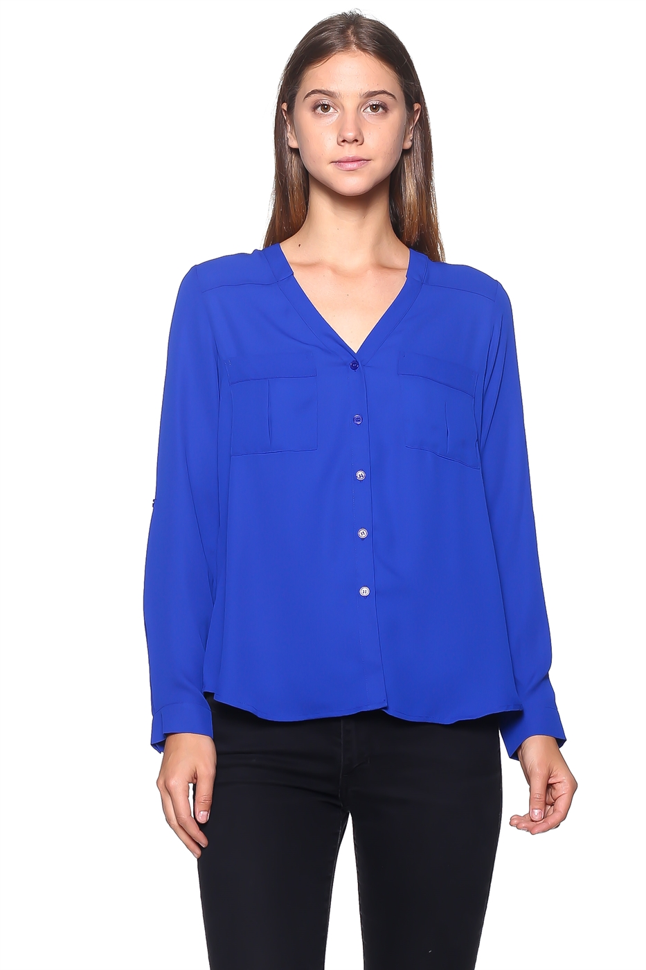 Collarless Shirt Blouse - orangeshine.com