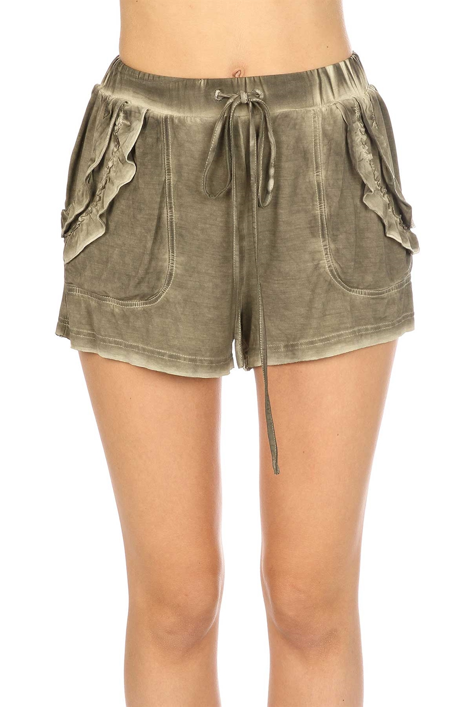 Ruffled detail shorts - orangeshine.com