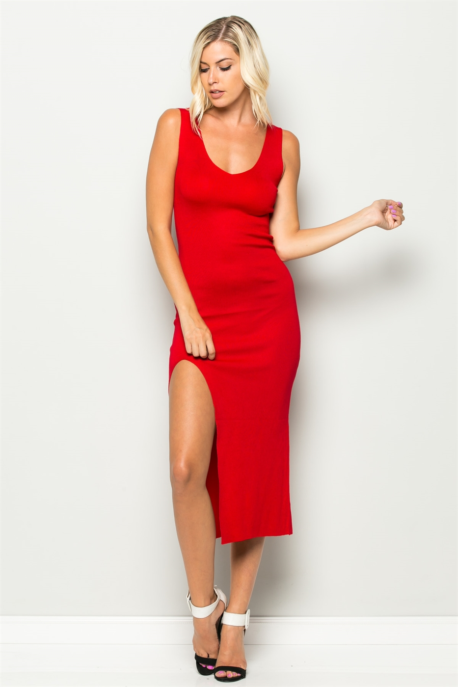 SIDE CUT BODYCON DRESS - orangeshine.com