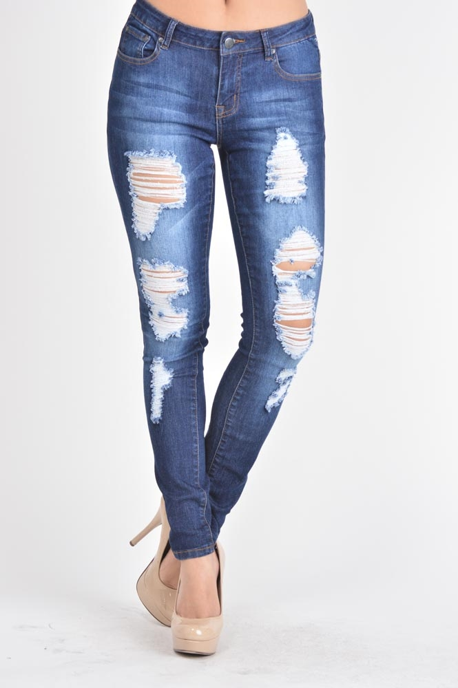 LOW RISE DISTRESSED JEANS  - orangeshine.com