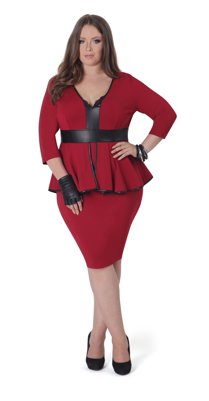 Red Peplum Dress with Sleeves - orangeshine.com