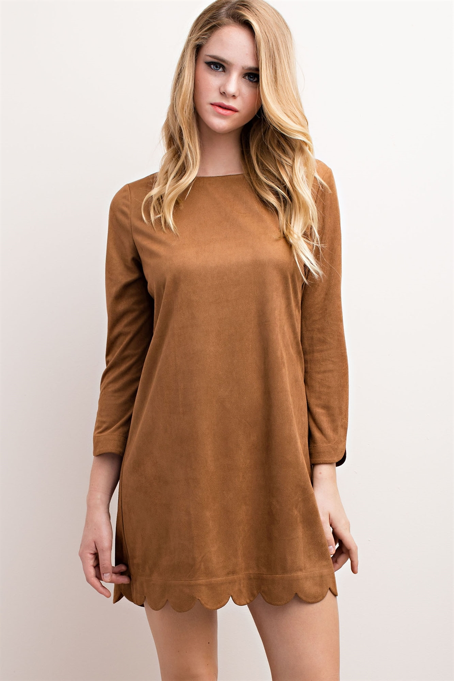 FAUX SUEDE SCALLOPED-HEM SHIFT - orangeshine.com