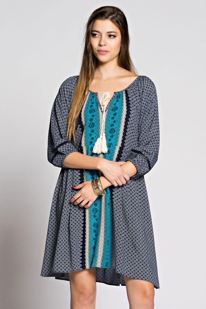 BORDER PRINT PEASANT DRESS - orangeshine.com