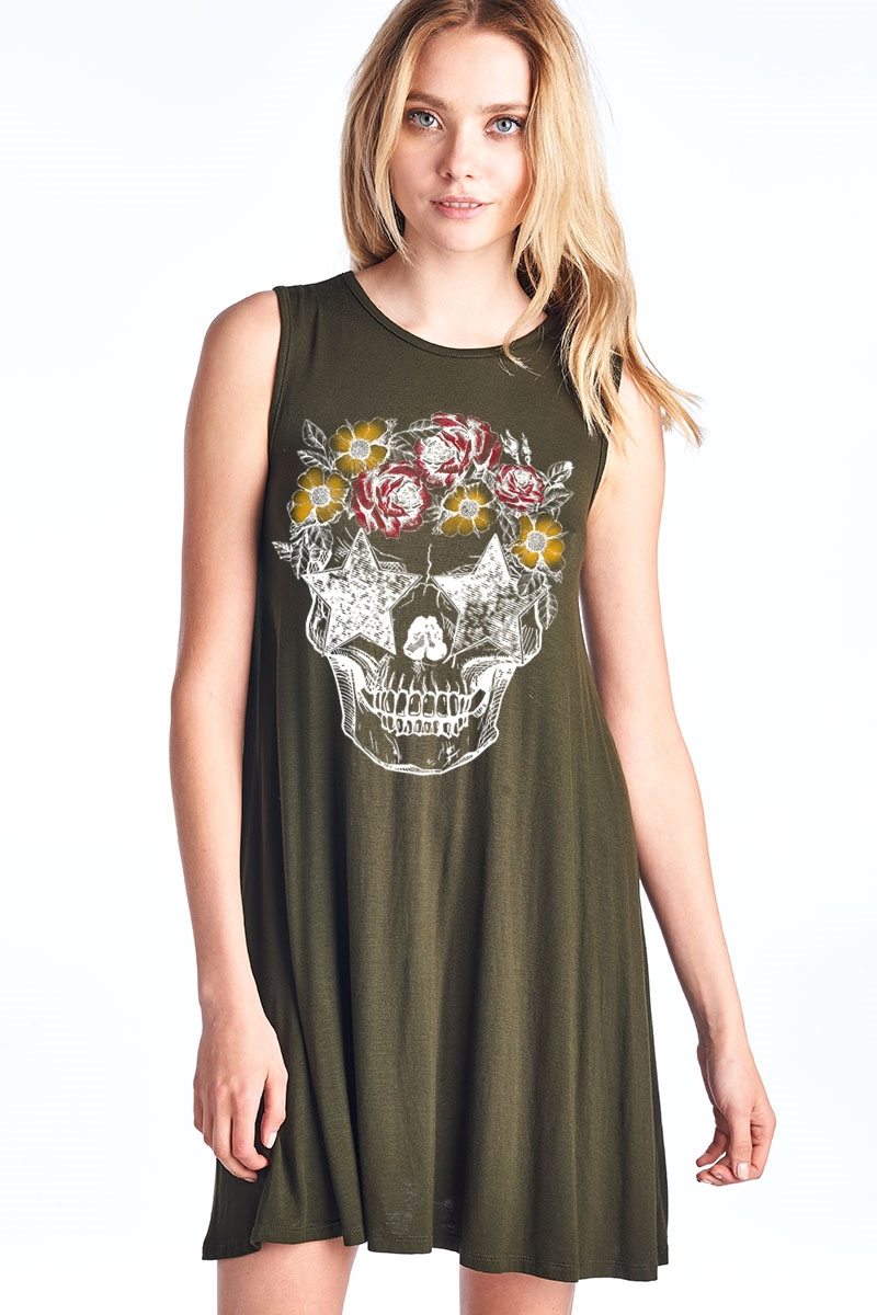 Skull Flower A Line Dress - orangeshine.com