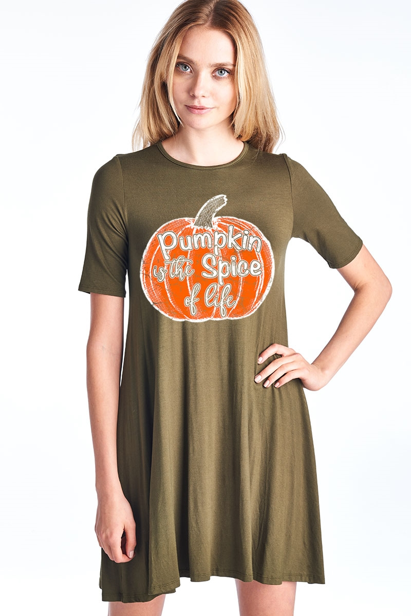 Pumpkin Short Sleeve Dress - orangeshine.com