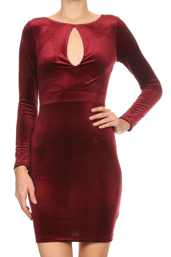 Velvet body con dress - orangeshine.com