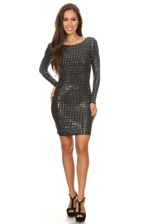 Patterned sequin bodycon dress - orangeshine.com