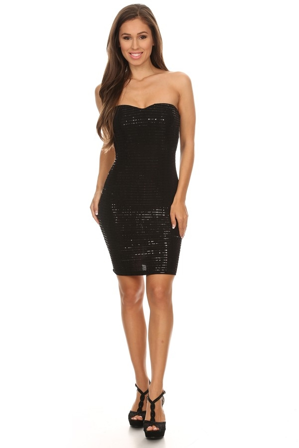 sequin strapless dress - orangeshine.com