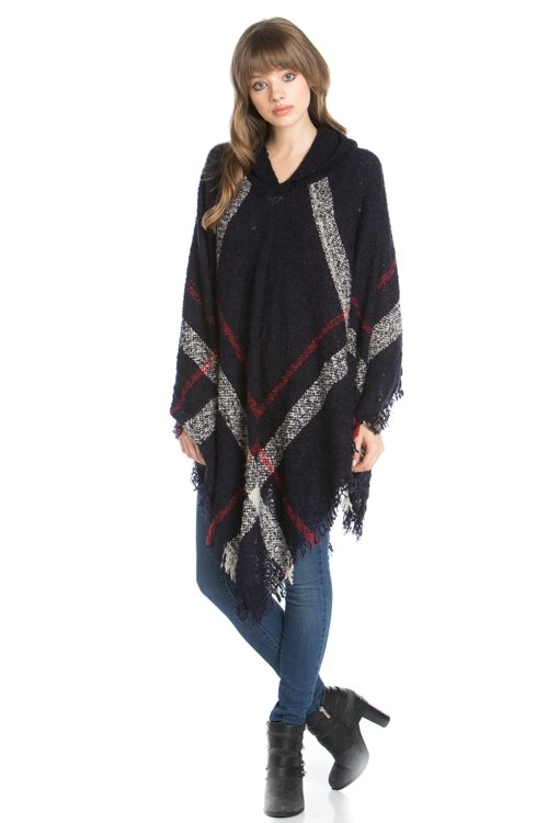 CHECKED KNITTED PONCHO - orangeshine.com