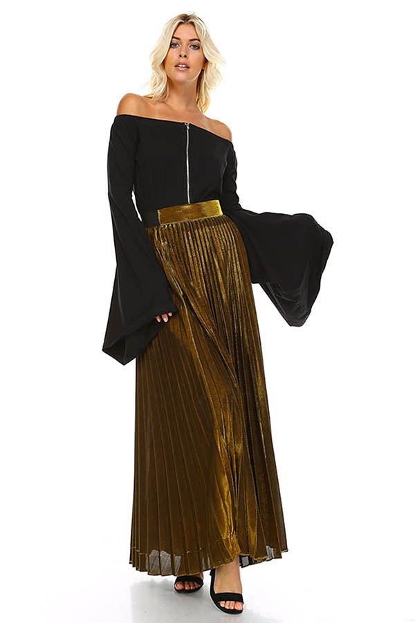METALLIC PLATED PLEATED SKIRT - orangeshine.com