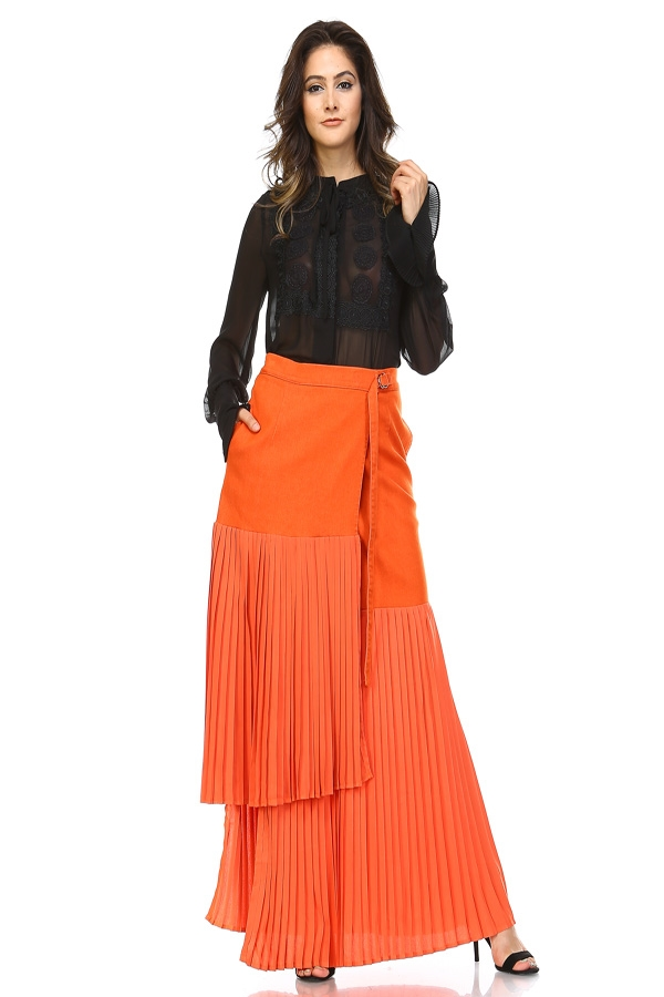 PLEATED AND PARTED SKIRT - orangeshine.com