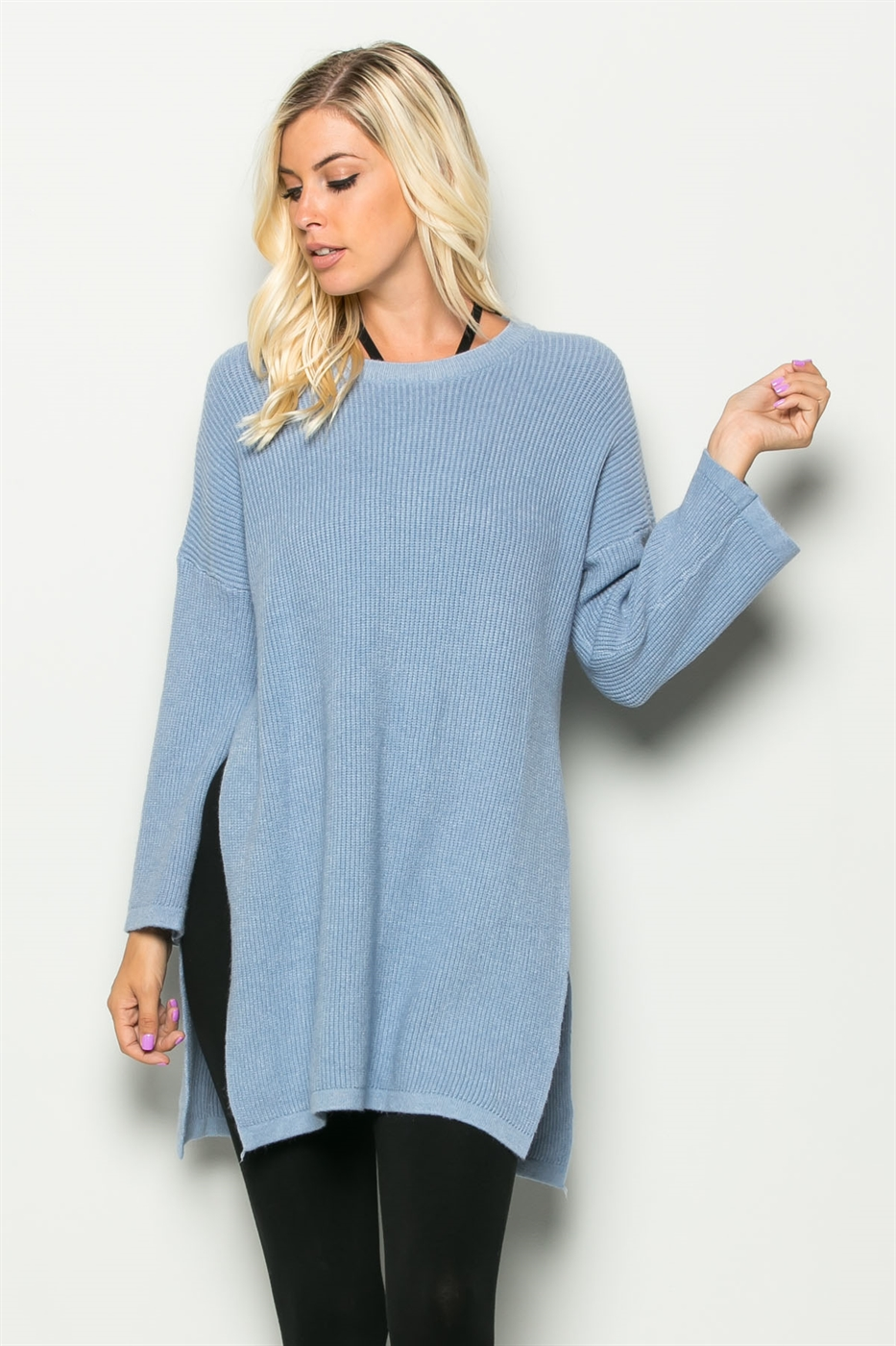 RELAXED FIT SWEATER TUNIC - orangeshine.com