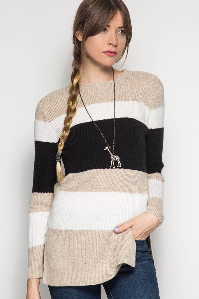 SL1118 KNITTED STRIPES SWEATER - orangeshine.com