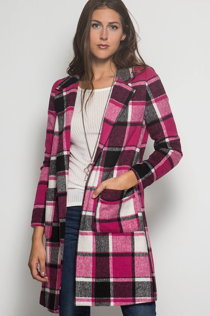 SL1258 PLAID JACKET COAT - orangeshine.com