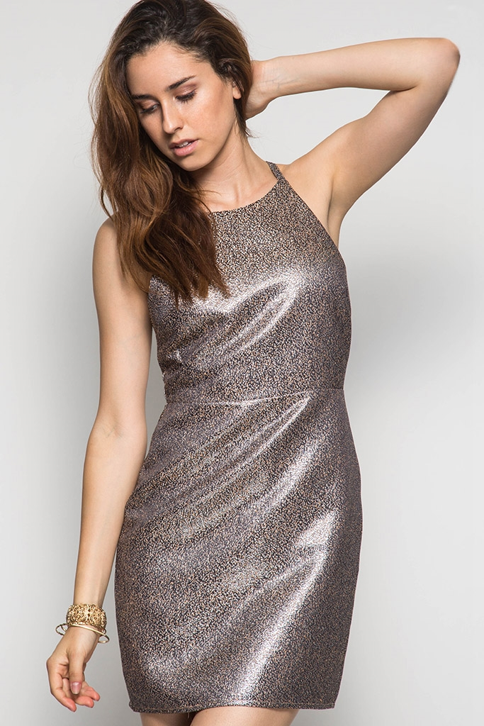 FORMAL METALLIC FITTED DRESS - orangeshine.com