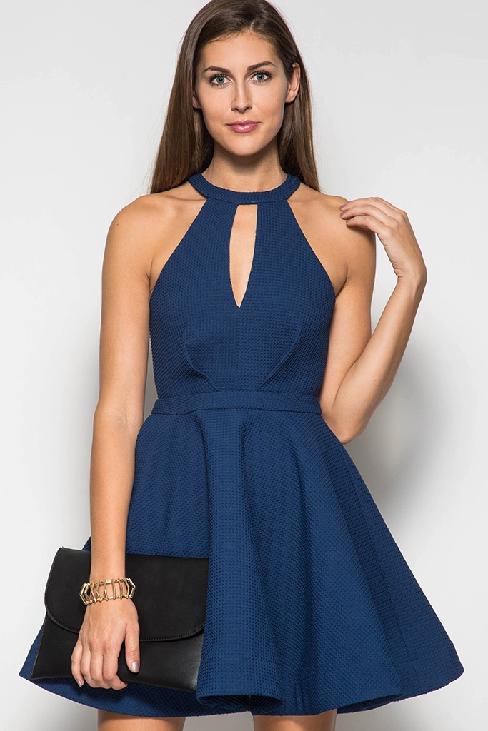 HIGH NECK FIT  FLARE DRESS - orangeshine.com