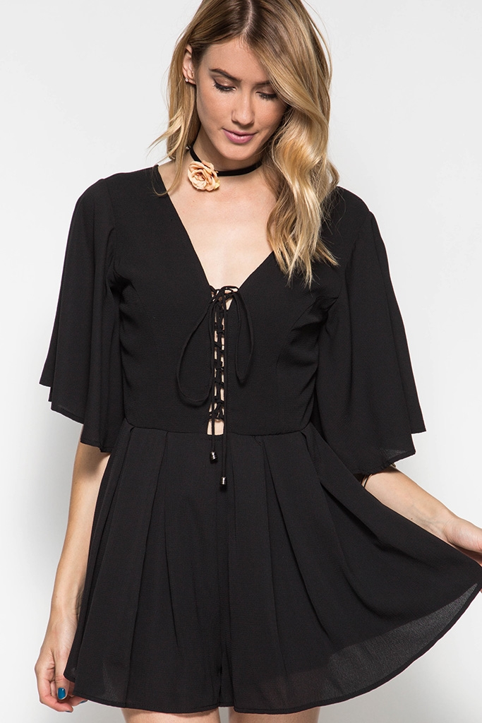 ROMPER WITH FRONT LACE-UP - orangeshine.com