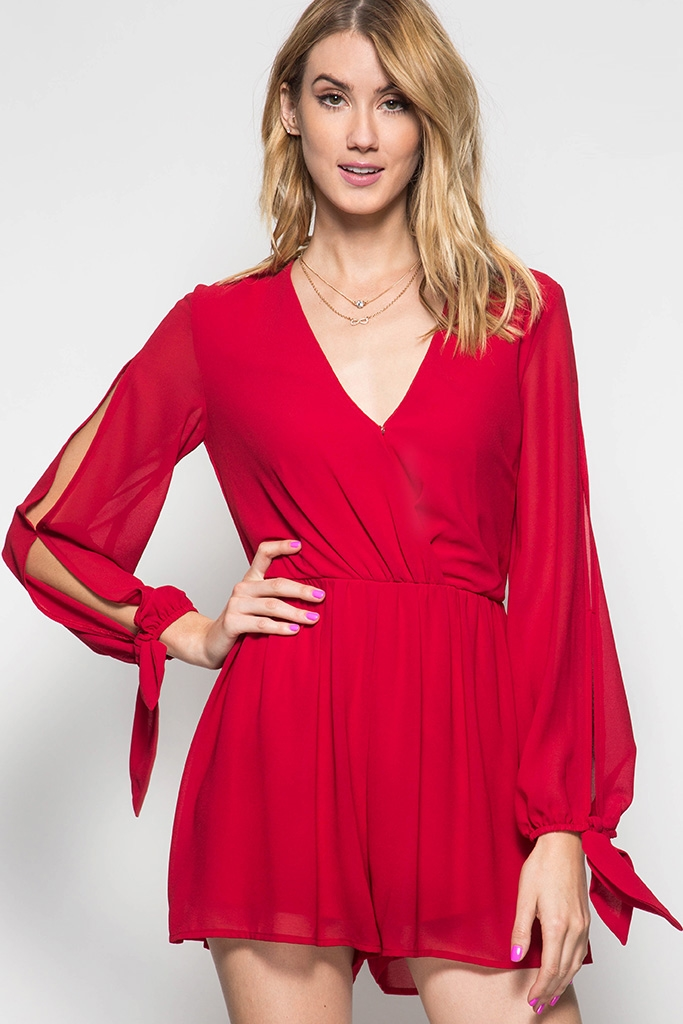 SURPLICE ROMPER WITH OPEN SLEE - orangeshine.com