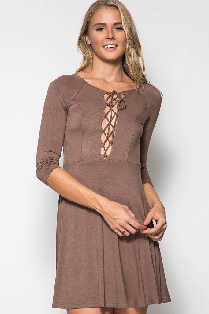 DRESS WITH LACE-UP FRONT - orangeshine.com