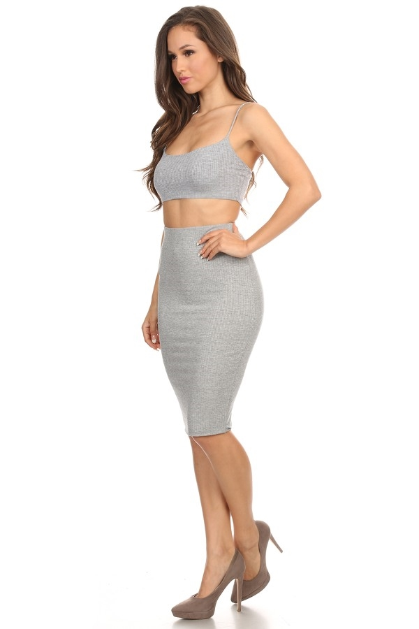 Crop Top and Pensil Skirt Set - orangeshine.com