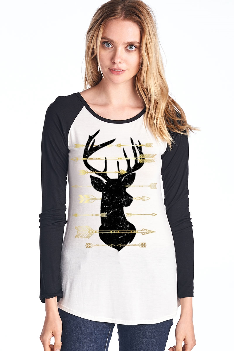 Deer Raglan Long Sleeve - orangeshine.com