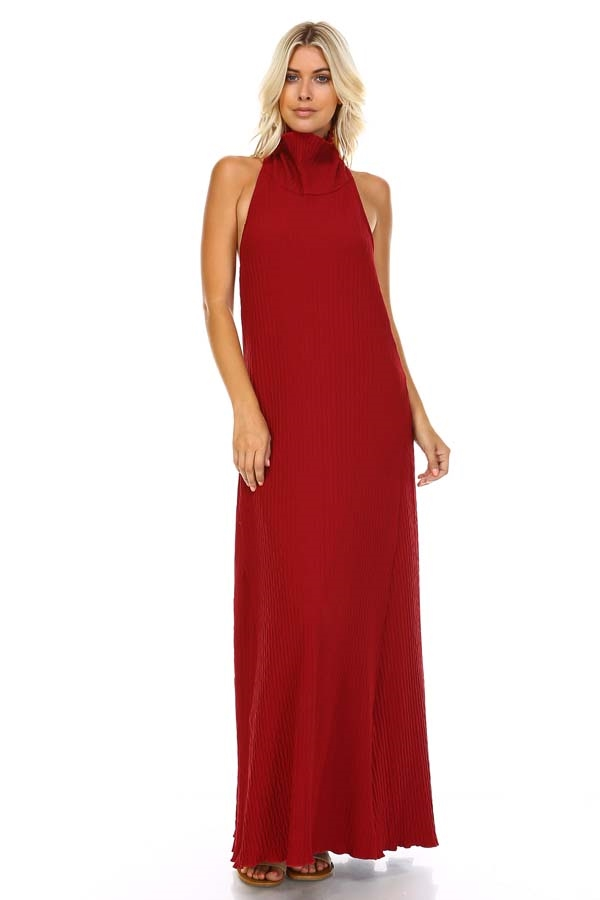 TURTLE NECK HALTER DRESS - orangeshine.com